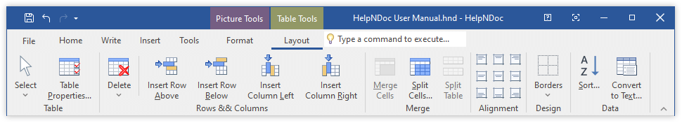 Table Ribbon Toolbar