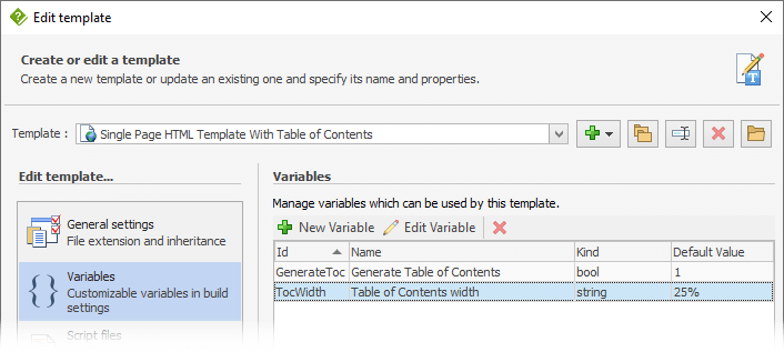 Create template variables