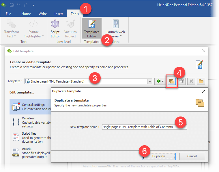 Using the template editor to create a new template