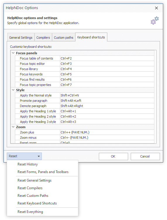 HelpNDoc keyboard shortcut editor and reset options