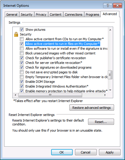 Internet Explorer is showing an ActiveX warning when an HTML