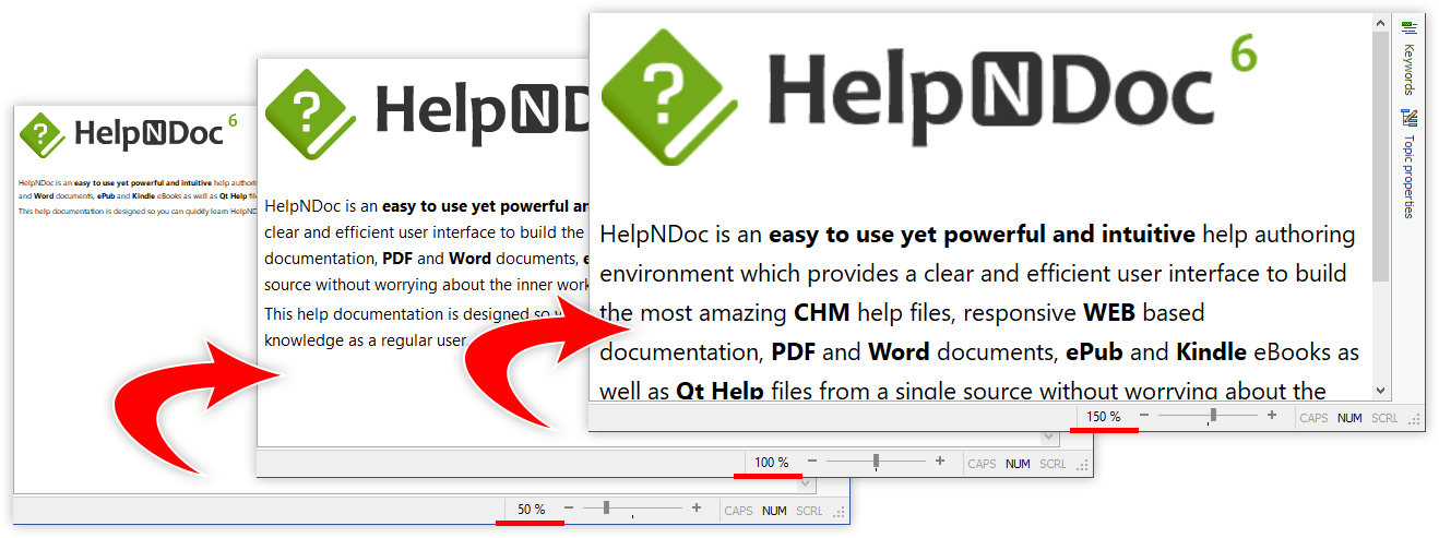 Zoom the topic editor, print and export analyzer reports to PDF and Excel with HelpNDoc 6.6