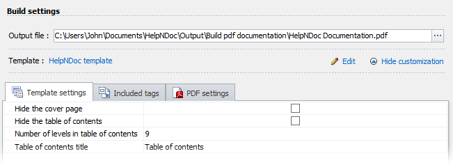 HelpNDoc's build settings: template selection