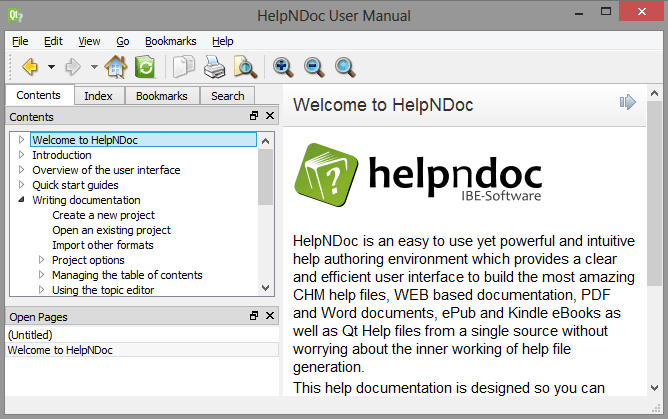 HelpNDoc's feature tour - Create help files for the Qt Help