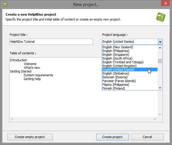 The New Project dialog pops-up