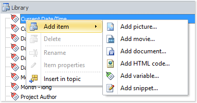 Add a library item using the popup menu