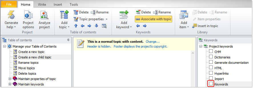 Associate keywords with topics using the check box
