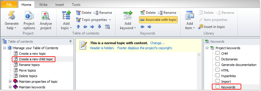 Associate keywords with topics using the ribbon button