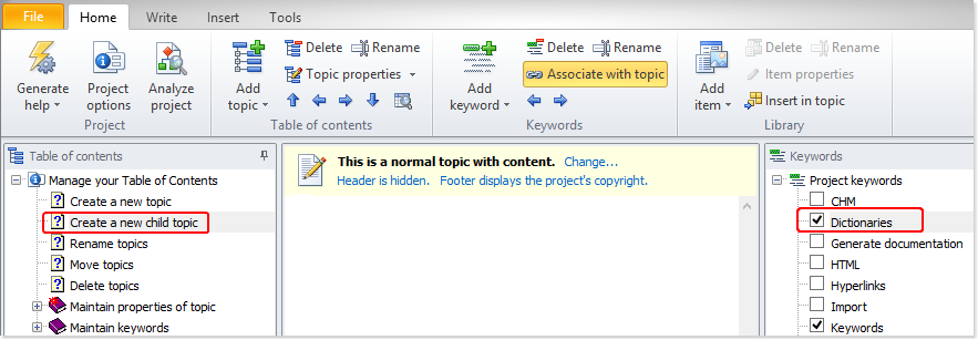 Remove keywords association using the ribbon button