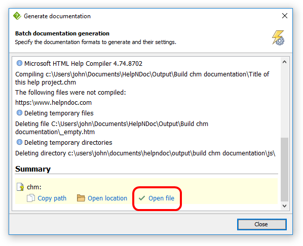 Launch generated CHM help file