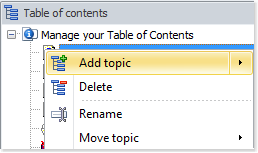 Right-click your table of contents and click Add topic