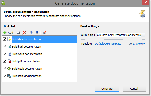 The generate documentation window