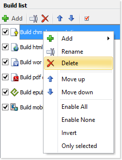 Delete a build using the popup menu