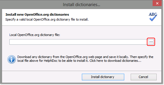 How to install a new dictionary in HelpNDoc