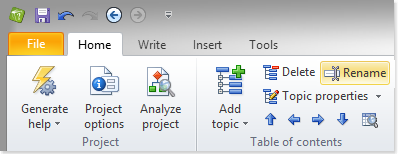 Click a topic in the table of contents and select Rename