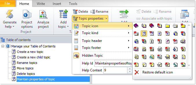 How to select a new icon for a topic in HelpNDoc