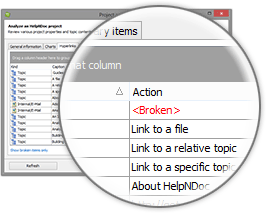 HelpNDoc's project analyzer: broken hyperlinks report